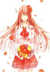 1girl bouquet character_name copyright_name eyes_closed flower hair_flower hair_ornament highres ib ib_(ib) long_hair petals rakugakiii rose skirt text