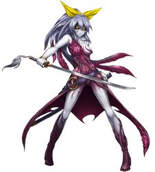 >:) 1girl alternate_costume armpits bare_shoulders black_sclera bracelet breasts closed_mouth cthulhu_mythos cthylla_(cthulhu_mythos) dark_persona dress full_body grey_hair grey_skin holding holding_sword holding_weapon jewelry katana living_clothes mazeran parody persona red_dress scabbard sheath simple_background small_breasts solo standing sword touhou watatsuki_no_yorihime weapon white_background yellow_eyes
