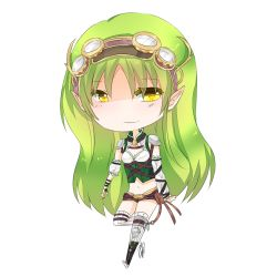 1girl borrowed_character breasts chibi cleavage detached_sleeves full_body goggles goggles_on_head green_hair long_hair midriff navel original pointy_ears rynn_(acerailgun) short_shorts shorts shoulder_pads shouu-kun solo thighhighs transparent_background yellow_eyes