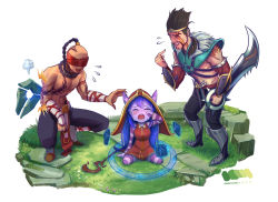 1girl 2boys alonsword crying draven eyes_closed flying_sweatdrops league_of_legends lee_sin lulu_(league_of_legends) multiple_boys simple_background smile staff tears white_background