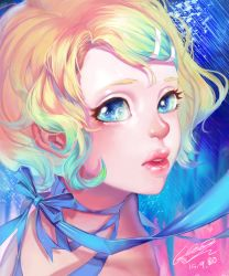 1girl 2015 absurdres bangs blonde_hair blue_background blue_eyes blue_ribbon cockia dated eyelashes hair_ornament hairclip highres kagamine_rin light_particles lipstick looking_at_viewer looking_to_the_side makeup parted_lips portrait red_lipstick ribbon short_hair signature solo swept_bangs vocaloid wavy_hair