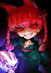 1girl animal_ears braid cat_ears glowing grin harusame_(unmei_no_ikasumi) kaenbyou_rin red_eyes red_hair skull smile solo teeth touhou twin_braids