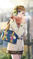 1girl :o absurdres ahoge akg badge bag black_skirt blue_eyes blurry blurry_background blush breath brown_hair charm_(object) coat cowboy_shot day glint headphones highres long_hair long_sleeves looking_at_viewer miniskirt open_mouth original outdoors own_hands_together plaid plaid_scarf red_scarf redrop scarf scrunchie shiny shiny_hair skirt solo standing star sunlight tsurime white_coat winter winter_clothes winter_coat