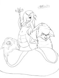 1girl camel_(dansen) female hair_over_one_eye lamia monochrome monster_girl navel original scepter solo topless