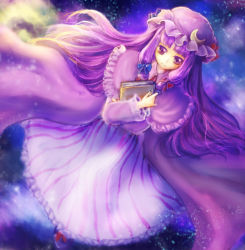 1girl book book_hug capelet crescent_hair_ornament crossed_arms double_bun dress dutch_angle expressionless hair_ornament hair_ribbon hat hat_ribbon holding holding_book long_hair looking_at_viewer mob_cap nebula patchouli_knowledge payot purple_eyes purple_hair ribbon robe shiu_(shiucream) solo space striped striped_dress touhou tress_ribbon wind