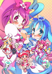 5girls animal arms_up ashita_no_nadja blonde_hair blue_eyes blue_hair blush boots bow c.jam-packed candy_(smile_precure!) child chocolat_(ashita_no_nadja) chypre_(heartcatch_precure!) coffret_(heartcatch_precure!) company_connection cream_(ashita_no_nadja) cure_blossom cure_happy cure_marine dodo_(ojamajo_doremi) double_bun gradient gradient_background hair_bow hanasaki_tsubomi happy harukaze_doremi heartcatch_precure! hoshizora_miyuki knee_boots kurumi_erika lion long_hair magical_girl multiple_girls nadja_applefield ojamajo_doremi pink_background pink_bow pink_eyes pink_hair pink_hat ponytail precure short_hair skirt smile_precure! touei twintails wrist_cuffs yellow_background