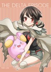 black_hair cape higana_(pokemon) highres mono_land pokemon pokemon_(game) pokemon_oras red_eyes shorts whismur
