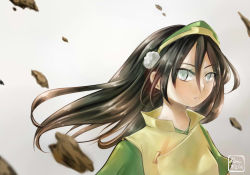 1girl avatar:_the_last_airbender black_hair blind gradient gradient_background hair_down long_hair nickelodeon rock stone toph_bei_fong