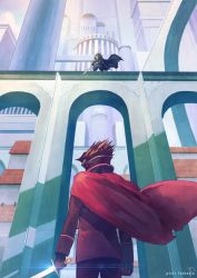 1boy architecture brown_hair building cape copyright_name dual_wielding from_behind from_below hood mask original pixiv_fantasia pixiv_fantasia_t rackety shiny sword weapon