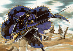 1boy absurdres black_hair clamp desert highres holding holding_weapon male_focus outdoors ruins short_hair solo sword touya_(tsubasa_chronicle) tsubasa_chronicle weapon