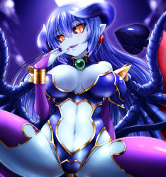 1girl astaroth_(shinrabanshou) black_sclera blue_hair blue_skin blush breasts breasts_apart bridal_gauntlets commentary_request demon_girl earrings eyebrows_visible_through_hair eyes_visible_through_hair gloves hair_between_eyes heart heart_earrings highres horns jewelry large_breasts leotard long_hair looking_at_viewer nail_polish navel navel_cutout open_mouth pointy_ears purple_gloves purple_legwear shinrabanshou solo spread_legs tail thighhighs watarui wings yellow_eyes