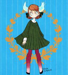 1girl artist_name dated dress horns l_hakase orange_hair original solo