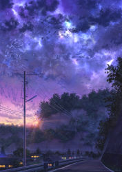 cloud dark galaxy highres hill house lens_flare light_rays night night_sky niko_p no_humans original plant power_lines railing road scenery sky star_(sky) street sunlight sunset telephone_pole town tree vines wall watermark