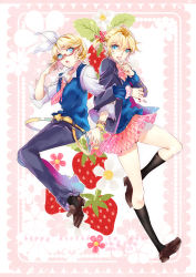 1boy 1girl 2015 :o absurdres adjusting_glasses alternate_costume bangs bead_bracelet belt black_legwear black_pants blazer blonde_hair blue_eyes border bow bowtie bracelet brown_shoes candy character_name cosplay costume_switch crossdressing dated earrings english eyebrows eyebrows_visible_through_hair eyelashes floral_background food food_in_mouth fruit full_body glasses hair_between_eyes hair_ornament hair_ribbon hairclip happy_birthday highres holding holding_food jacket jewelry kagamine_len kagamine_rin kneehighs leaf locked_arms lollipop long_sleeves looking_at_another looking_at_viewer looking_to_the_side miniskirt necktie pants pink_necktie pleated_skirt red-framed_glasses red_bow ribbon school_uniform semi-rimless_glasses shirt shoes short_hair shorts sketch skirt skirt_lift star star_earrings strawberry sweater_vest swept_bangs tie_clip tsuna2727 under-rim_glasses vocaloid white_bow white_shirt yagasuri