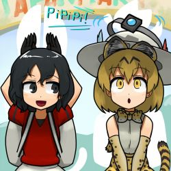 2girls animal_ears bag black_gloves black_hair blonde_hair bucket_hat gloves hair_between_eyes hat hat_feather kaban kemono_friends lucky_beast_(kemono_friends) multiple_girls ninniku_(ninnniku105) open_mouth red_shirt serval_(kemono_friends) serval_ears serval_print serval_tail shirt short_hair spoilers tail wavy_hair