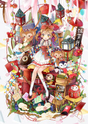 1girl 2016 akeome apron argyle bamboo_steamer bow brown_hair camellia_(flower) candy clutter coin cushion daruma_doll doll dress finger_to_mouth fingerless_gloves fish flower food frilled_apron frills gloves gold hair_bow hair_flower hair_ornament hair_ribbon hanafuda knees_together_feet_apart lantern mochi nengajou new_year omamori original petals ribbon rope rotary_phone sandals sash shimenawa sitting smile snow_bunny solo star stuffed_monkey tassel torii tsunoju twintails wagashi white_legwear yellow_eyes