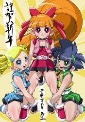 3girls akatsutsumi_momoko cartoon_network gotokuji_miyako hikawadou hyper_blossom matsubara_kaoru multiple_girls ponytail powered_buttercup powerpuff_girls powerpuff_girls_z rolling_bubbles skirt translation_request