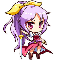 1girl belt blush_stickers boots bow bracelet brown_boots chibi dress full_body hair_bow jewelry lavender_hair long_hair looking_at_viewer lowres ponytail puffy_short_sleeves puffy_sleeves purple_eyes red_dress renren_(ah_renren) shinobu_shinobu short_sleeves simple_background smile solo standing sword touhou tsurime very_long_hair watatsuki_no_yorihime weapon white_background yellow_bow