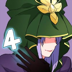 1girl 4 caster cloak countdown fate/stay_night fate_(series) gum_(gmng) lips long_hair lowres number purple_background purple_hair smile solo