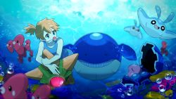1girl anniversary blue_eyes bubbles clamperl highres kasumi_(pokemon) luvdisc mantyke nihoshi orange_hair pokemon side_ponytail staryu swimsuit underwater wailmer water