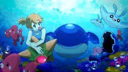 1girl anniversary blue_eyes bubbles clamperl highres kasumi_(pokemon) luvdisc mantyke nihoshi orange_hair pokemon side_ponytail staryu swimsuit underwater wailmer water