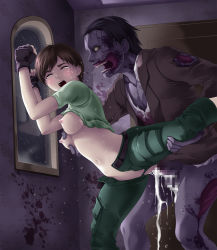 1girl against_wall blush breast_grab breasts brown_hair capcom censored clothed_sex crying cum eyes_closed female forced nipples no_panties open_mouth rape rebecca_chambers resident_evil sex short_hair sweat tears thor_(deep_rising) vaginal zombie