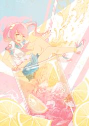 1girl :d bangs blue_skirt blush breasts commentary cup drinking_straw eyebrows_visible_through_hair floating_hair food fruit glass hair_ornament hair_scrunchie ice iced_tea in_container in_cup lemon lemon_slice long_hair medium_breasts minigirl neckerchief open_mouth original pink_hair pleated_skirt rimuu school_uniform scrunchie serafuku shadow shoes short_sleeves skirt smile sneakers solo spilling teeth triangle twintails yellow_eyes