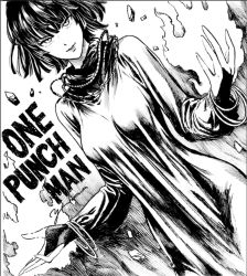 1girl aura bangle black_hair bracelet breasts dress fubuki_(one-punch_man) hips jewelry large_breasts light_smile lips lipstick long_sleeves looking_at_viewer makeup monochrome murata_yuusuke necklace one-punch_man parted_lips rock rubble short_hair solo telekinesis text turtleneck