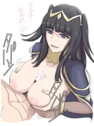 1boy 1girl abs bangs black_hair blue_eyes blunt_bangs bodysuit bracelet breast_squeeze breasts breasts_outside bridal_gauntlets cape censored fire_emblem fire_emblem:_kakusei inverted_nipples jewelry large_breasts long_hair paizuri penis smile solo_focus tharja tiara translated two_side_up umayahara0130