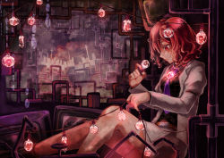 1girl belt formal from_side highres horikawa_raiko jacket juliet_sleeves light_bulb long_sleeves miniskirt necktie open_clothes open_jacket parted_lips plaid plaid_shirt profile puffy_sleeves purple_necktie red_eyes red_hair shirt shometsu-kei_no_teruru short_hair sitting skirt skirt_suit solo suit suit_jacket touhou