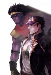 2boys hat highres jojo_no_kimyou_na_bouken kuujou_joutarou multiple_boys older purple_skin sb_(hiratsei) stand_(jojo) star star_platinum