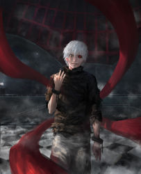 1boy bangs black_nails black_sclera bridge checkered checkered_floor cloudbox9 cuffs glowing glowing_eyes grin handcuffs kagune_(tokyo_ghoul) kaneki_ken looking_at_viewer male nail_polish parted_lips realistic red_eyes short_hair smile solo tokyo_ghoul torn_clothes white_hair