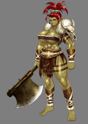 1girl absurdres axe barefoot breasts cleavage fur green_skin highres huge_breasts lips muscle nbo orc original pointy_ears red_hair scar skull solo tubetop weapon