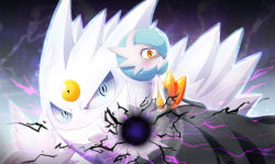crazy_eyes electricity gardevoir gengar mega_gardevoir mega_gengar mega_pokemon no_humans pokemon shiny_pokemon