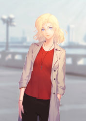 1girl absurdres alternate_costume alternate_hairstyle black_pants blonde_hair blue_eyes blurry blurry_background bokeh breasts buttons casual collarbone cowboy_shot cross cross_necklace depth_of_field earrings hair_down hand_in_pocket highres jewelry labcoat lips looking_at_viewer mercy_(overwatch) necklace necktie nose overwatch pants pink_lips red_shirt shirt short_hair sleeves_past_elbows sleeves_rolled_up smile solo stud_earrings wristband zaijian_miao_xingren