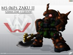 artist_name axe chibi dopp gundam gundam_msv mecha volf505 weapon zaku zaku_ii zaku_ii_commander_custom