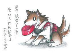 akagi_(kantai_collection) animal_ears animalization commentary_request dainamitee dog dog_ears dog_tail japanese_clothes kantai_collection muneate simple_background sweatdrop tail translation_request white_background