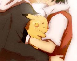 2boys kiss male_focus multiple_boys ookido_green pikachu pokemon pokemon_(creature) red_(pokemon) yaoi yotsuiko