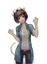 1girl animal_ears black_eyes black_hair casual cat_ears cat_tail glasses_on_head hanekawa_tsubasa head_tilt mi8pq monogatari_(series) short_hair solo tail