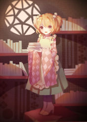 1girl :d apron bangs bell black_eyes blonde_hair blush book_stack bookshelf boots checkered_shirt full_body green_skirt hair_bell hair_ornament high_heel_boots high_heels highres japanese_clothes kimono long_sleeves looking_at_viewer motoori_kosuzu open_mouth shirt short_hair skirt smile solo standing touhou two_side_up wide_sleeves yasato