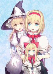 2girls alice_margatroid apron black_dress blonde_hair blue_eyes bow capelet culter dress hair_bow hat hat_bow kirisame_marisa multiple_girls open_mouth shanghai_doll smile touhou waist_apron witch_hat yellow_eyes