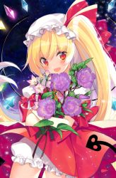 1girl blonde_hair bloomers blush bouquet cowboy_shot flandre_scarlet flower hat hat_ribbon looking_at_viewer mob_cap open_mouth red_eyes red_ribbon red_skirt ribbon roh_nam_kyung skirt skirt_set smile solo touhou underwear vest wings