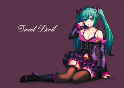 1girl :d aqua_eyes aqua_hair bare_shoulders belt black_bra black_legwear bow bra breasts butterfly_hair_ornament buttons cleavage collarbone defiaz_(infinity) frilled_skirt frills garter_straps grin hair_ornament hand_in_hair hatsune_miku jacket long_hair long_sleeves looking_at_viewer nail_polish navel off_shoulder open_mouth parted_lips pink_bow pink_nails project_diva_(series) project_diva_f purple_eyes purple_jacket purple_skirt revision simple_background sitting skirt smile solo sweet_devil_(vocaloid) thighhighs twintails underwear very_long_hair vocaloid zettai_ryouiki