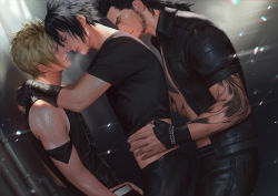 3boys against_wall blonde_hair blush facial_hair final_fantasy final_fantasy_xv gladiolus_amicitia male_focus multiple_boys muscle naughty_face noctis_lucis_caelum penguin_frontier prompto_argentum scar shirt_lift smile steam sweat tattoo undressing yaoi