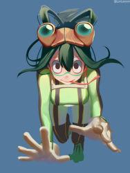 1girl asd13 asui_tsuyu bodysuit boku_no_hero_academia brown_eyes frog_girl full_body gloves goggles goggles_on_head green_hair hair_rings long_tongue perspective solo tongue tongue_out twitter_username