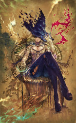 1girl blonde_hair blue_eyes breasts cane cleavage curly_hair fantasy hat highres large_breasts lips long_hair magic original platform_footwear sitting skin_tight skull solo suke_akurou throne witch witch_hat