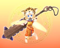 aztec blonde_hair blue_eyes chibi collar fairy fang fangs fantasy glowing glowing_eyes jaguar_warrior kso looking_at_viewer macuahuitl mexican mexico tribal weapon