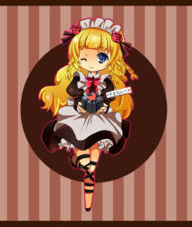 1girl apron blonde_hair blue_eyes braid brown_background dress flower frills hairband long_hair maid maid_headdress one_eye_closed present ribbon rose shirley_fennes shoes smile tales_of_(series) tales_of_legendia wink