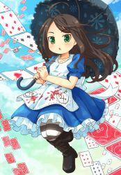 1girl alice:_madness_returns alice_(wonderland) black_hair dress green_eyes long_hair mizuno_mumomo solo tagme