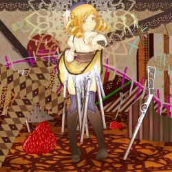 1girl bakemonogatari beret bird blonde_hair boots brown_legwear chicken colored_eyelashes corset creator_connection detached_sleeves drill_hair eyelashes fingerless_gloves food from_behind fruit gloves gun hair_ornament hairpin hat highres hisa_tsuki looking_back magical_girl magical_musket mahou_shoujo_madoka_magica monogatari_(series) parody puffy_sleeves ribbon rifle senjougahara_pose shaft shirt skirt skirt_lift smile solo standing strawberry striped striped_legwear taut_clothes taut_shirt thighhighs tomoe_mami twin_drills twintails vertical-striped_legwear vertical_stripes weapon witch's_labyrinth yellow_eyes zettai_ryouiki